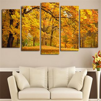 5 Panels Sugar Maple Trees Multi Piece Framed Canvas Art Poster Print