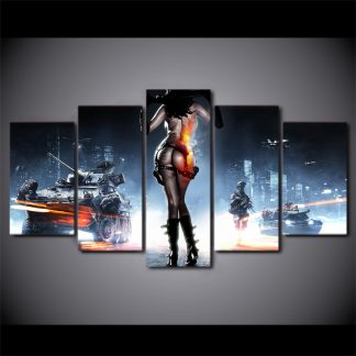 5 Panels Battlefield 3 Multi Piece Framed Canvas Art Poster Print