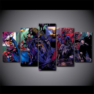 5 Panels Batman Battle of the Cowl Multi Piece Framed Canvas Art Poster Print