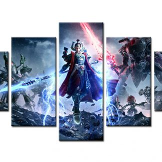 5 Panels Dawn of War Eldar Multi Piece Framed Canvas Art Poster Print
