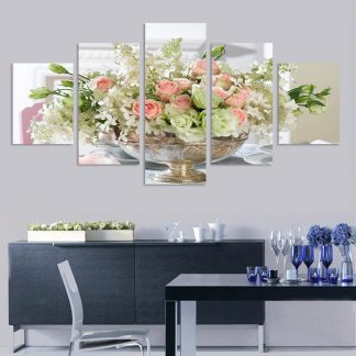 5 Panels Vase of Rose Multi Piece Framed Canvas Art Poster Print