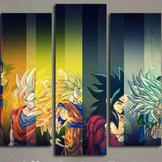5 Panels Dragon Ball Z Goku Multi Piece Framed Canvas Art Poster Print