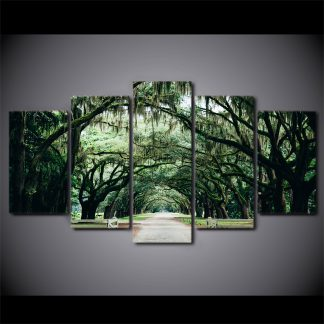 5 Panels Green Forest Multi Piece Framed Canvas Art
