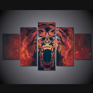 5 Panels Grizzly Bear Multi Piece Framed Canvas Art