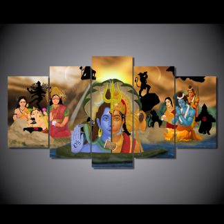5 Panels Hanuman Fights Lord Shiva Multi Piece Framed Canvas Art Poster Print