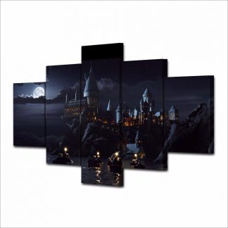 5 Panels Harry Potter Hogwarts Multi Piece Framed Canvas Art Poster Print