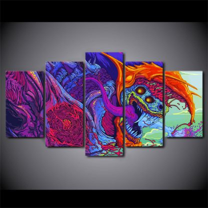 5 Panels Multi Colored Hyper Beast Multi Piece Framed Canvas Art Poster Print
