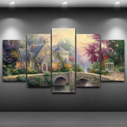 5 Panels Lamplight Manor Thomas Kinkade Multi Piece Framed Canvas Art Poster Print