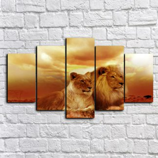 5 Panels Silent Lion Couple Multi Piece Framed Canvas Art Poster Print