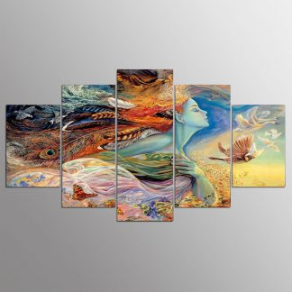 5 Panels Mother Nature Multi Piece Framed Canvas Art Poster Print