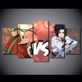5 Panels Naruto vs Saruke Multi Piece Framed Canvas Art Poster Print