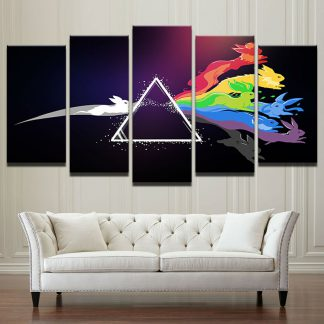 5 Panels Pink Floyd Multi Piece Framed Canvas Art Poster Print