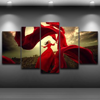 5 Panels Red Dress Multi Piece Framed Canvas Art Poster Print
