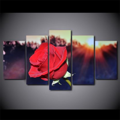 5 Panels Passionate Red Rose Multi Piece Framed Canvas Art Poster Print