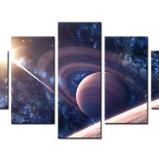 5 Panels Saturn Multi Piece Framed Canvas Art