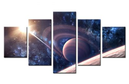 5 Panels Gigantic Saturn Multi Piece Framed Canvas Art Poster Print