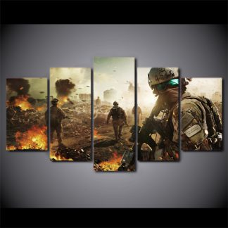 5 Panels Soldier Multi Piece Framed Canvas Art Poster Print