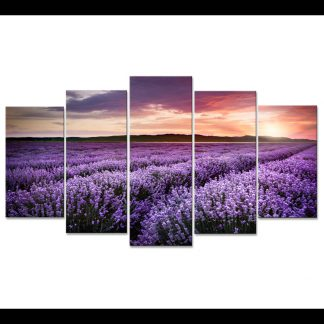 5 Panels Sunset Multi Piece Framed Canvas Art
