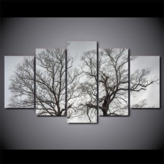 5 Panels Twin Trees Multi Piece Framed Canvas Art Poster Print