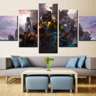 5 Panels Warcraft Multi Piece Framed Canvas Art Poster Print