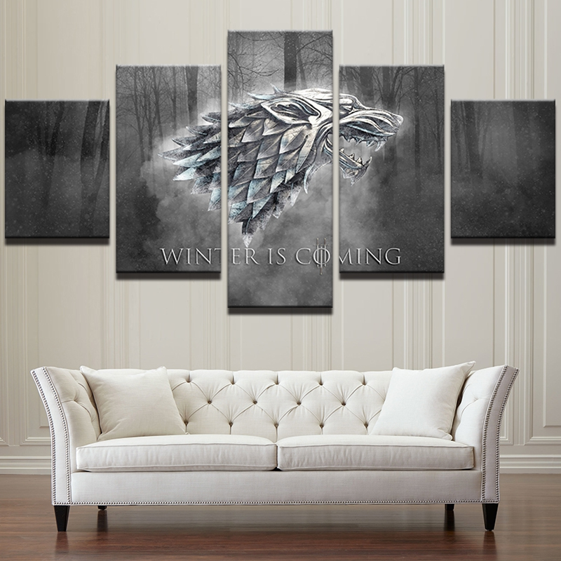 Home Game Room: 5 Panels Game Of Thrones Canvas Art