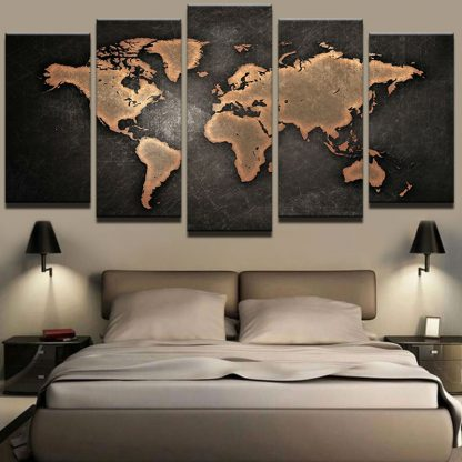 5 Panels World Map Multi Piece Framed Canvas Art Poster Print