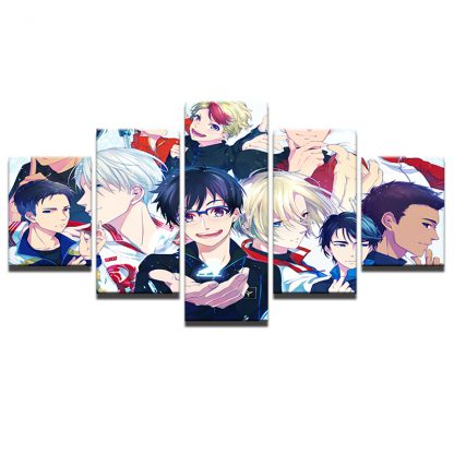 5 Panels Yuri On Ice Multi Piece Framed Canvas Art Poster Print