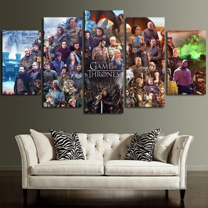 5 Panels Game Of Thrones Characters and Cast Multi Piece Framed Canvas Art Poster Print