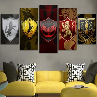 5 Panels Game Of Thrones House Banners Multi Piece Framed Canvas Art Poster Print