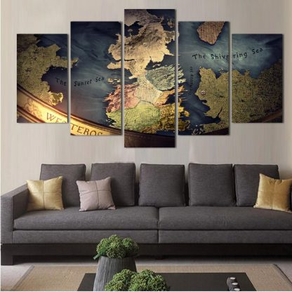 5 Panels Game of Thrones Map Multi Piece Framed Canvas Art