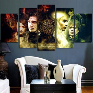 5 Panels Game Of Thrones Iron Throne Multi Piece Framed Canvas Art Poster Print