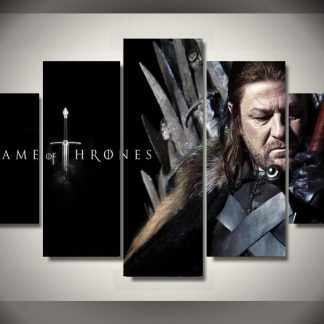 5 Panels Eddard Stark Multi Piece Framed Canvas Art Poster Print