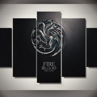 5 Panels House Targaryen Multi Piece Framed Canvas Art Poster Print