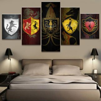 5 Panels House Banners Multi Piece Framed Canvas Art Poster Print