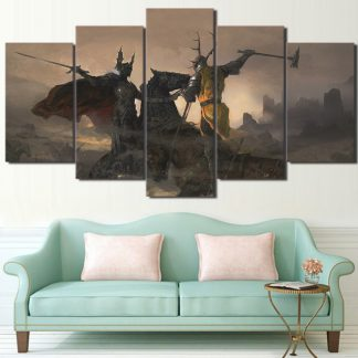 5 Panels Robert vs Rhaegar Multi Piece Framed Canvas Art Poster Print