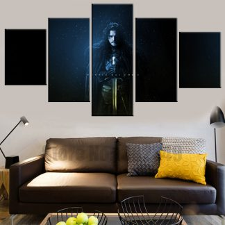 5 Panels Jon Snow Multi Piece Framed Canvas Art Poster Print