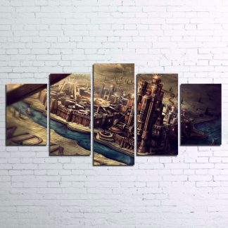 5 Panels King's Landing Multi Piece Framed Canvas Art Poster Print