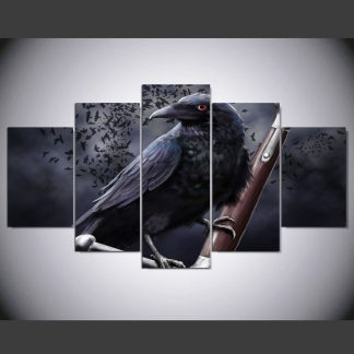 5 Panels Crow Multi Piece Framed Canvas Art Poster Print