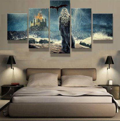 5 Panels daenerys targaryen Multi Piece Framed Canvas Art Poster Print