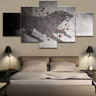 5 Panels Dire Wolf Multi Piece Framed Canvas Art Poster Print