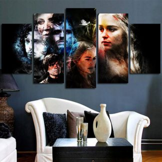 5 Panels Game Of Thrones Characters Multi Piece Framed Canvas Art Poster Print