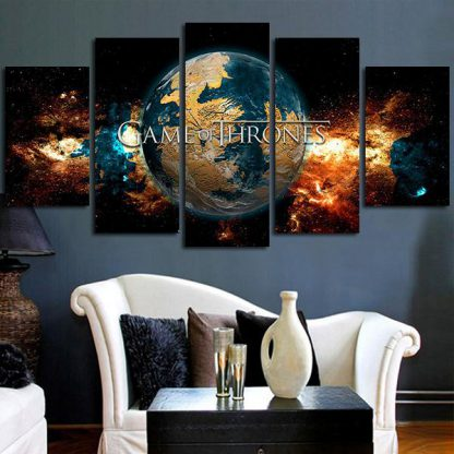 5 Panels Game Of Thrones World Multi Piece Framed Canvas Art Poster Print