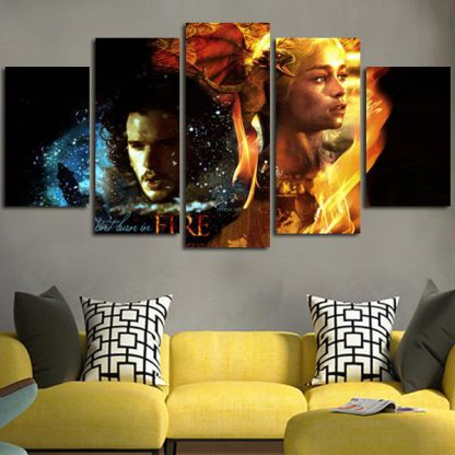 5 Panels Jon Snow Daenerys Targaryen Multi Piece Framed Canvas Art Poster Print
