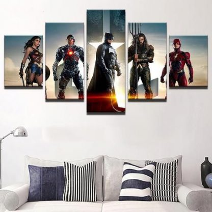 5 Panels Justice League Multi Piece Framed Canvas Art Poster Print