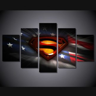 5 Panels Superman US Flag Multi Piece Framed Canvas Art Poster Print