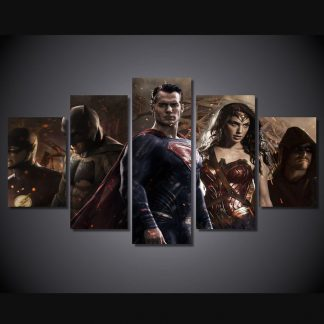 5 Panels Batman vs Superman Multi Piece Framed Canvas Art Poster Print
