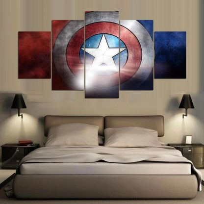 5 Panels Captain America Shield Multi Piece Framed Canvas Art Poster Print