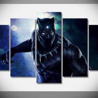 5 Panels Black Panther Multi Piece Framed Canvas Art Poster Print