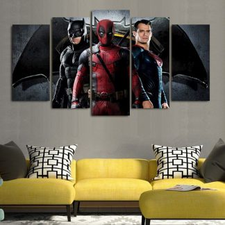 5 Panels Deadpool Batman Superman Multi Piece Framed Canvas Art Poster Print