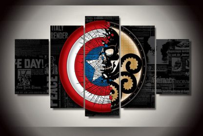 5 Panels Captain America Sheild Hydra Multi Piece Framed Canvas Art Poster Print